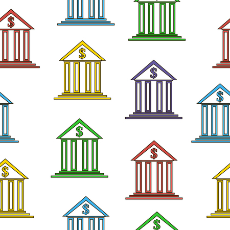 depository: Bank sign seamless pattern on white background. Vector illustration.
