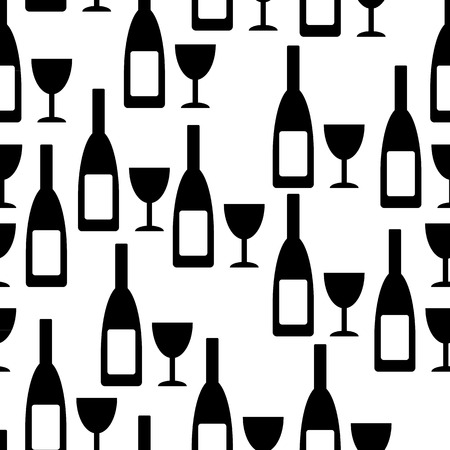 glasse: Bottle and glasse seamless pattern on white background. Vector illustration.