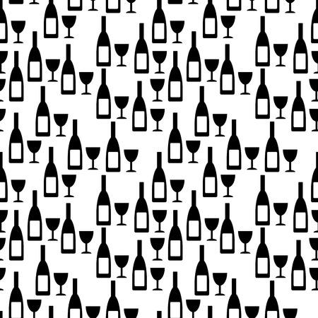vino: Bottle and glasse seamless pattern on white background. Vector illustration.