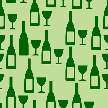 glasse: Bottle and glasse seamless pattern on green background. Vector illustration. Illustration