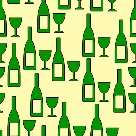 glasse: Bottle and glasse seamless pattern on yellow background. Vector illustration.