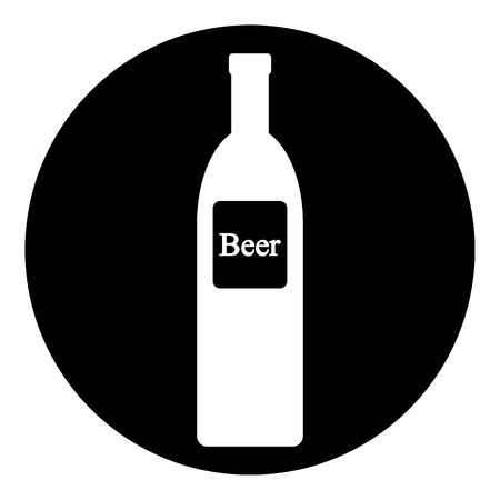 intoxication: Beer bottle icon on white. Vector illustration.