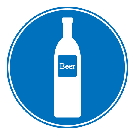 intoxication: Allowed beer bottle sign on white. Vector illustration.