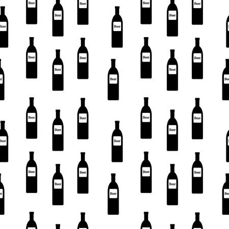 intoxication: Beer bottle seamless pattern on white. Vector illustration. Illustration