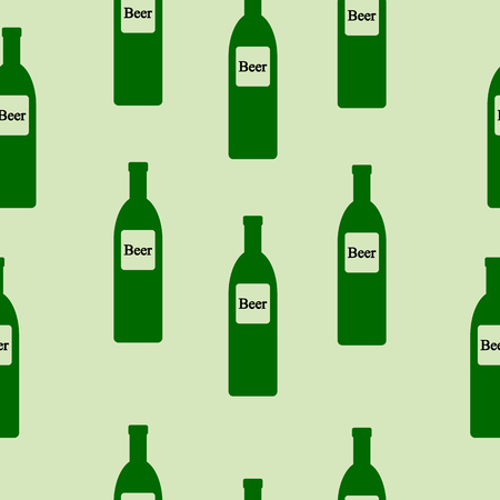 intoxication: Beer bottle seamless pattern on green. Vector illustration.