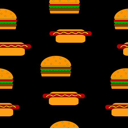 Hamburger and hot dog seamless pattern on black.
