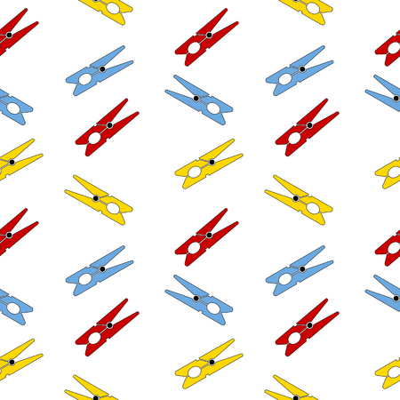 clothes pin: Clothes pin seamless pattern on white. Vector illustration.