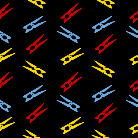 clothes pin: Clothes pin seamless pattern on black. Vector illustration. Illustration
