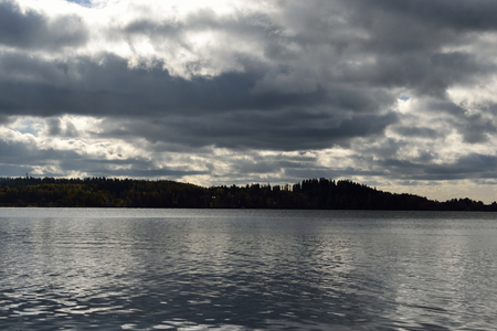 isthmus: Lake at cloud day in Karelian Isthmus, Russia. Stock Photo