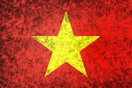 socialism: Flag of Vietnam in grunge style.