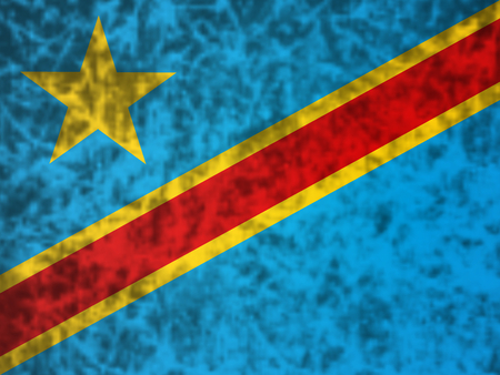 zaire: Flag of Democratic Republic of the Congo in grunge style. Stock Photo