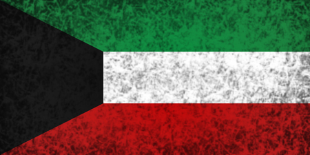 ancient near east: Flag of Kuwait in grunge style.