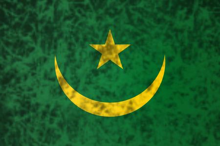 mauritania: Flag of Mauritania in grunge style. Stock Photo