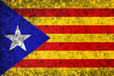 catalonia: Flag of Catalonia in grunge style. Stock Photo