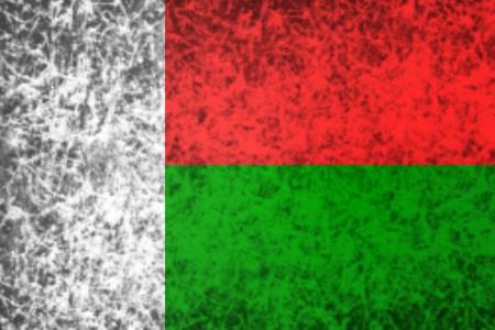 madagascar: Flag of Madagascar in grunge style.
