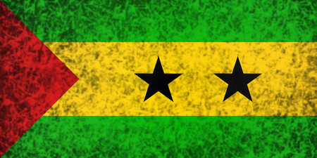 tome: Flag of Sao Tome and Principe in grunge style.