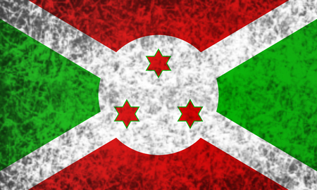 burundi: Flag of Burundi in grunge style. Stock Photo
