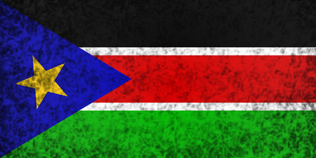 south sudan: Flag of South Sudan in grunge style.