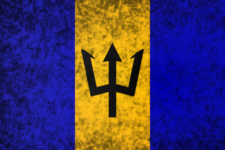 barbados: Flag of Barbados in grunge style.