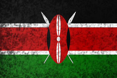 blak and white: Flag of Kenya in grunge style. Stock Photo