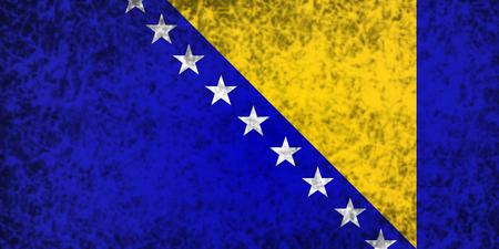 bosnia and herzegovina flag: Flag of Bosnia and Herzegovina in grunge style.