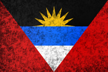 barbuda: Flag of Antigua and Barbuda in grunge style. Stock Photo