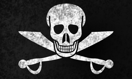 deathly: Jolly Roger flag in grunge style.
