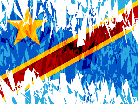 zaire: Flag of Democratic Republic of the Congo in grunge style. Vector illustration.