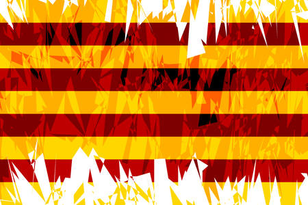 catalonia: Flag of Catalonia in grunge style. Vector illustration.
