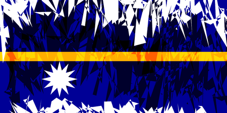nauru: Flag of Nauru in grunge style. Vector illustration.