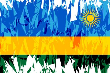 rwanda: Flag of Rwanda in grunge style. Vector illustration.