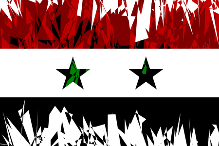 ancient near east: Flag of Syria in grunge style. Vector illustration.