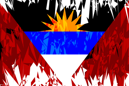 antigua: Flag of Antigua and Barbuda in grunge style. Vector illustration.
