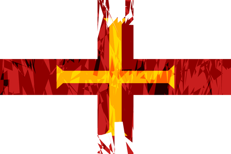 guernsey: Flag of Guernsey in grunge style. Vector illustration.