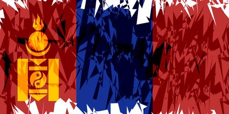 Flag of Mongolia in grunge style. Vector illustration. Illustration
