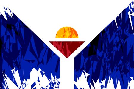 martin: Flag of Saint Martin in grunge style. Vector illustration.