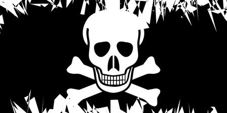 deathly: Jolly Roger flag in grunge style. Vector illustration. Illustration