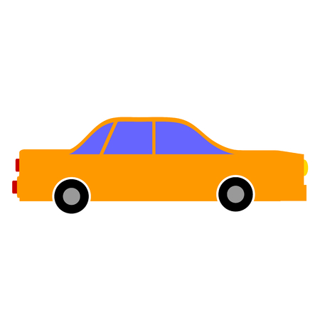 conveyance: Car icon on white background.  Illustration