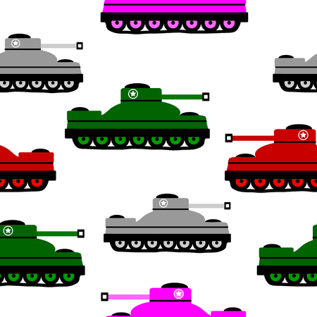 Panzer: Panzer icons on white background, seamless pattern. Vector illustration.