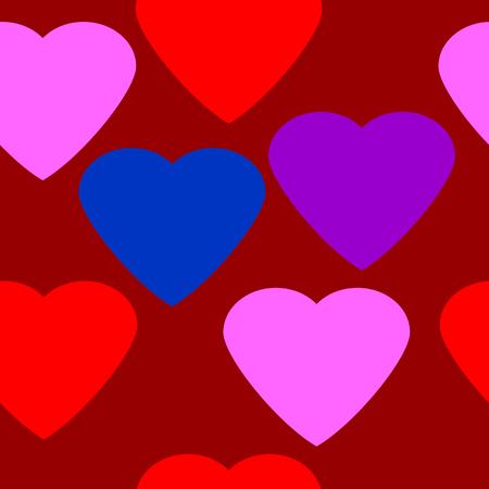 secret love: Love heart seamless pattern on red background. Vector illustration.