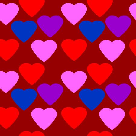 secret love: Love heart seamless pattern on red background.
