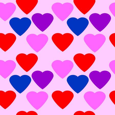 fiancee: Love heart seamless pattern on pink background.