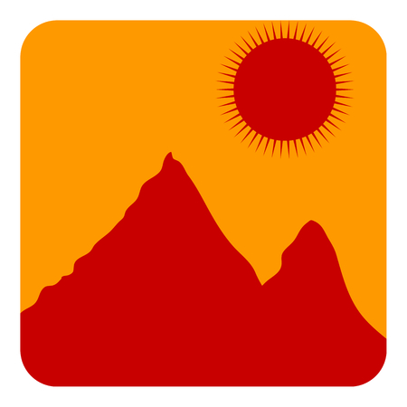 snowcapped mountain: Mountain landscape at sunset icon. Vector illustration Illustration