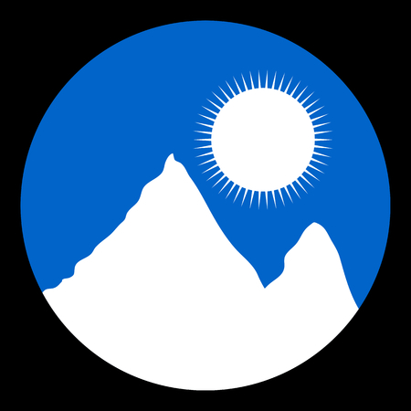 snowcapped mountain: White mountain landscape icon. Vector illustration. Illustration
