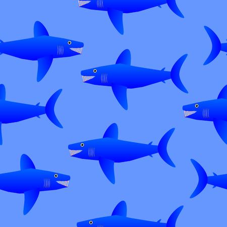 gills: Shark seamless pattern on blue background. Vector illustration. Illustration