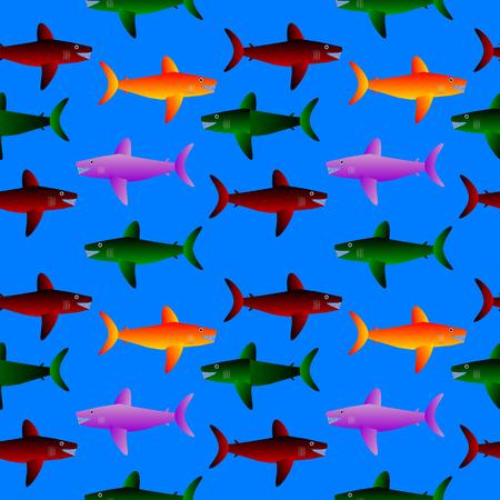gills: Shark seamless pattern on blue background.