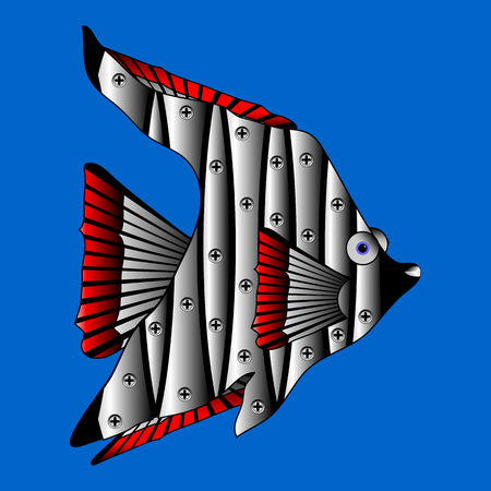nimble: Mechanical robot fish isolated on blue background. Vector illustration.