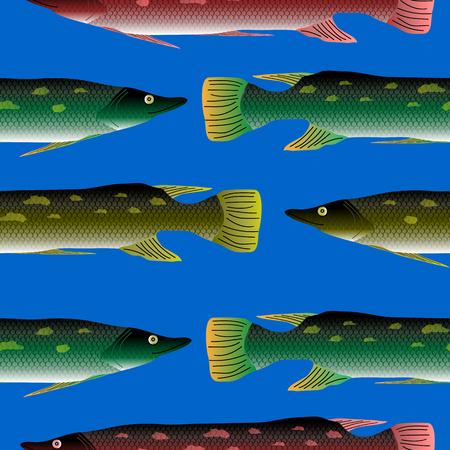 Pike seamless pattern on blue background.