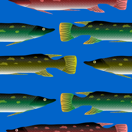 luce: Pike seamless pattern on blue background.