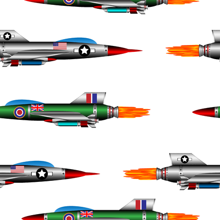 vehicle combat: Jet-fighter seamless pattern on white background. Vector illustration. Illustration